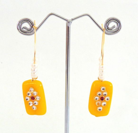 Fashion Stone Earrings-Yellow