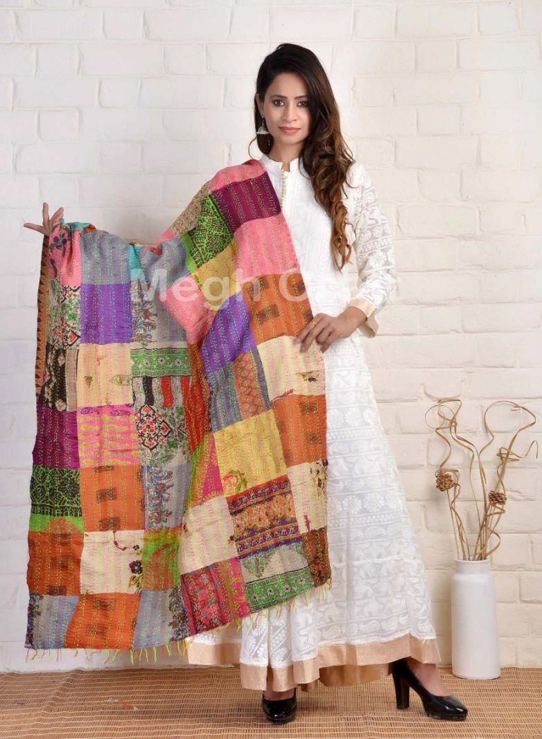 Kantha Patches Reversible Dupatta