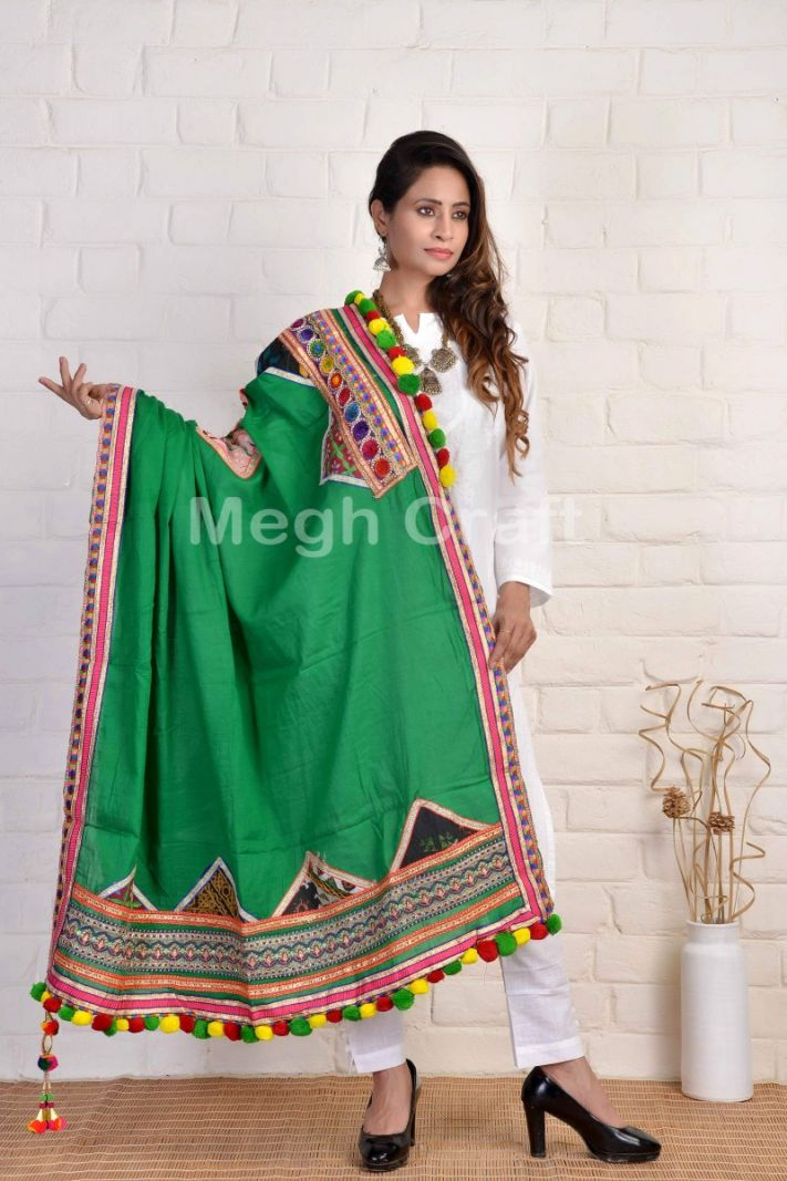 Green Color Gujarati Stole Dupatta