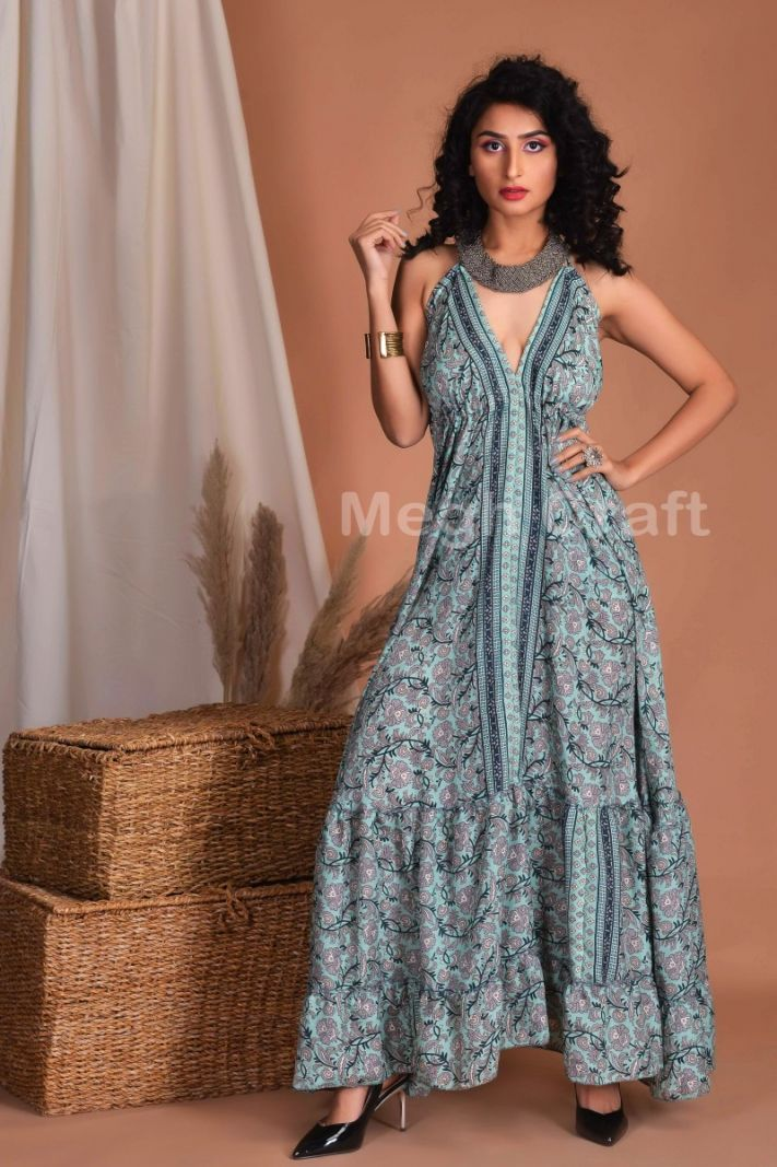Floral Frilled Uno Maxi Dress