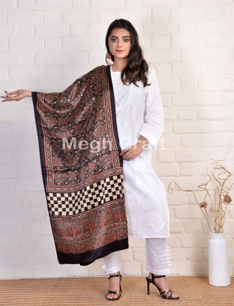 Black Ajrakh Block Printed Stole