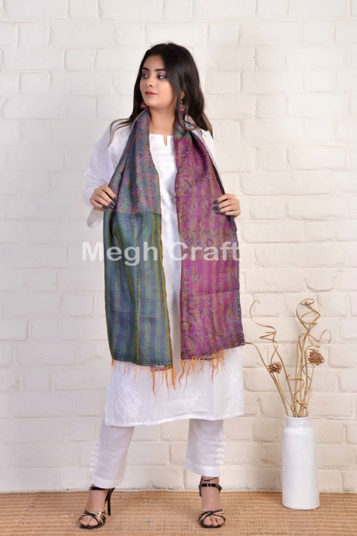 Traditional Reversible Kantha Stole