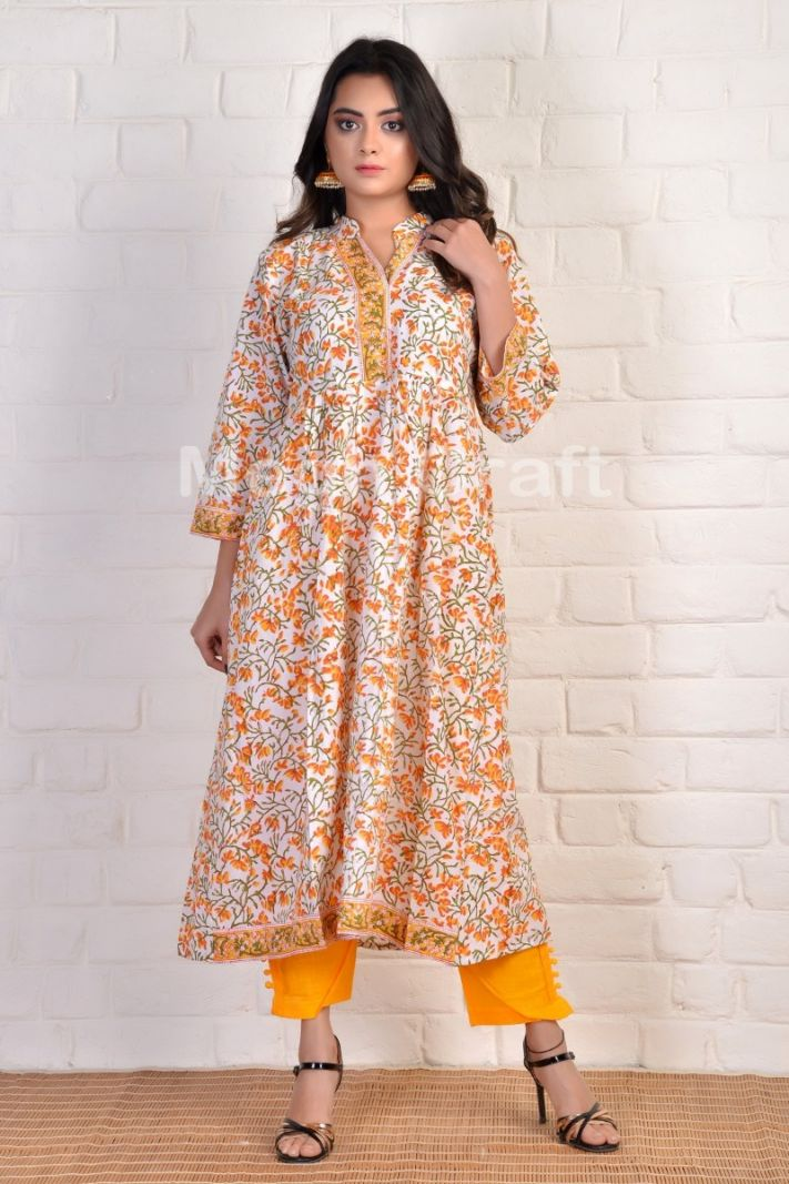 Yellow Boho Formal Gown Kurti