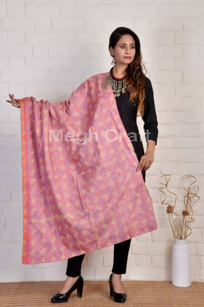 Circle Pattern Kantha Reversible Dupatta