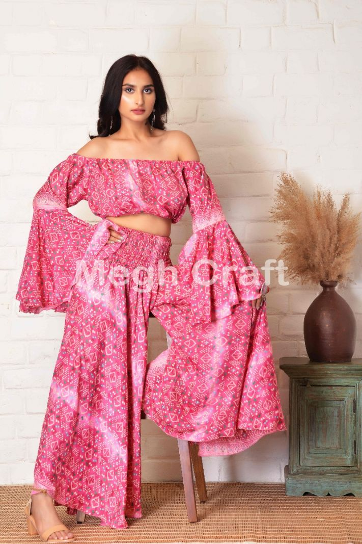 Indo Western Style Pink Top & Umbrella Trouser