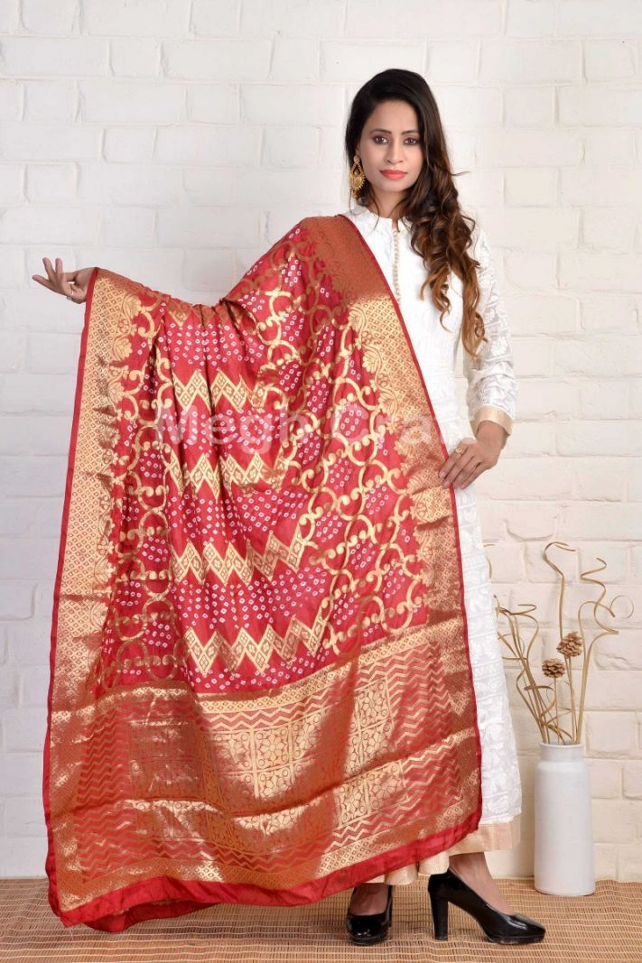 Traditional Red Bandhni Dupatta