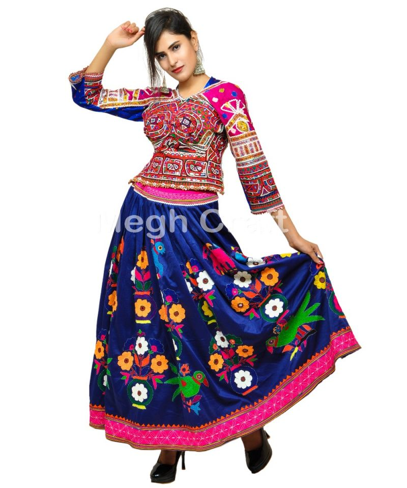 Blue Gujarati Kutch Embroidery Skirt