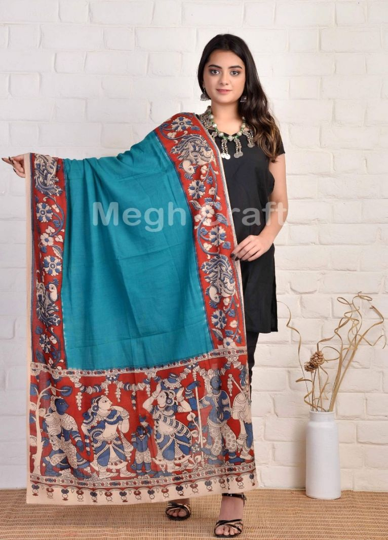 Indian Ancient Story Painted Dupatta