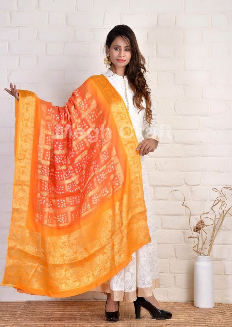 Red Orange Bandhni Dupatta
