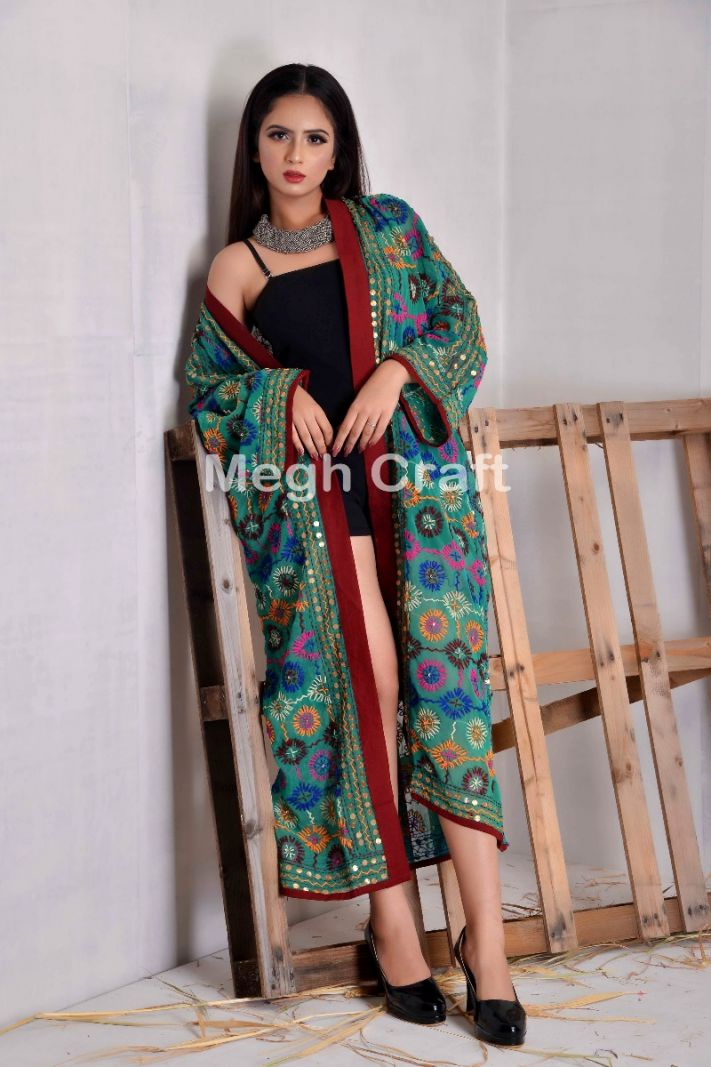 Georgette Embroidered Long Kimono