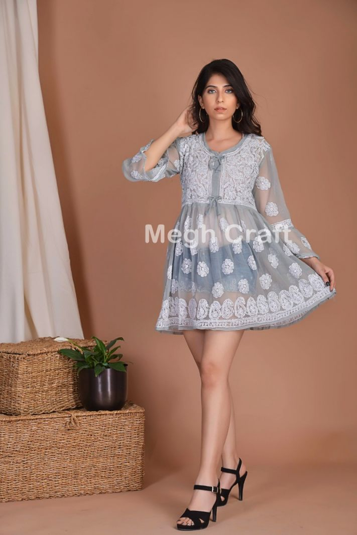 Gray Georgette Short Tunic Top