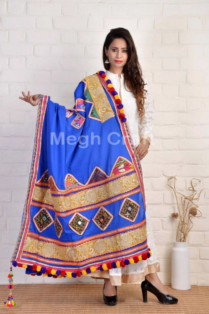 Blue Navratri Traditional Dupatta