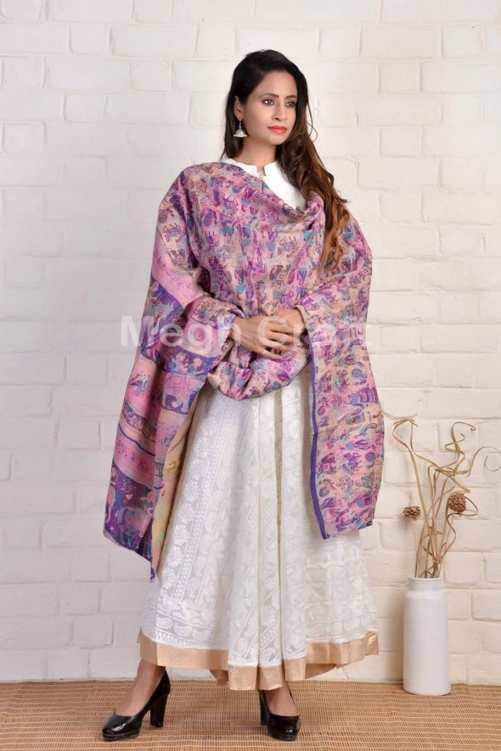 Animal Motif Embroidery Dupatta