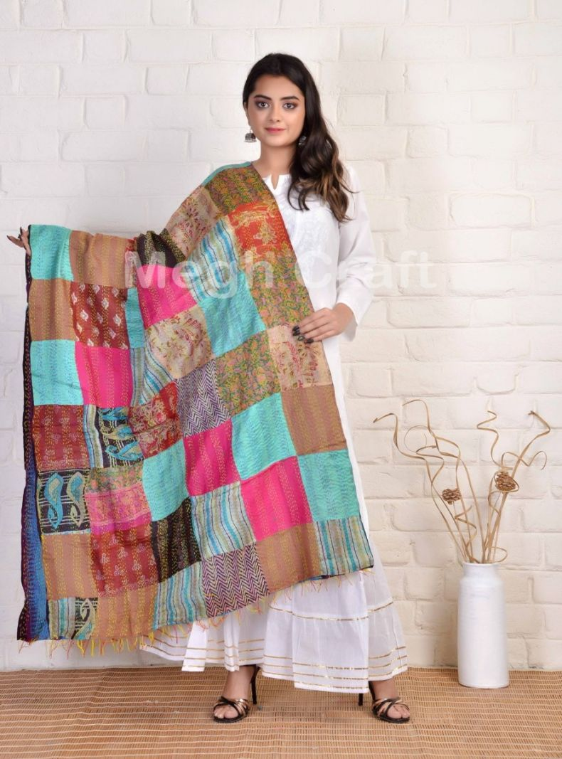 Kantha Patchwork Reversible Stole