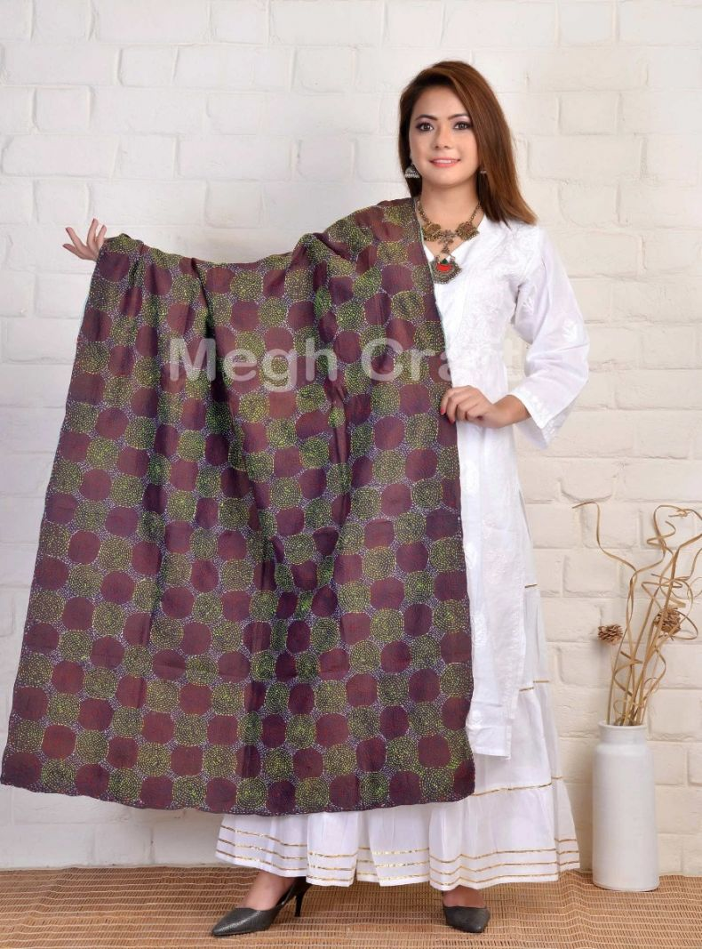Kantha Hand Embroidery Dupatta