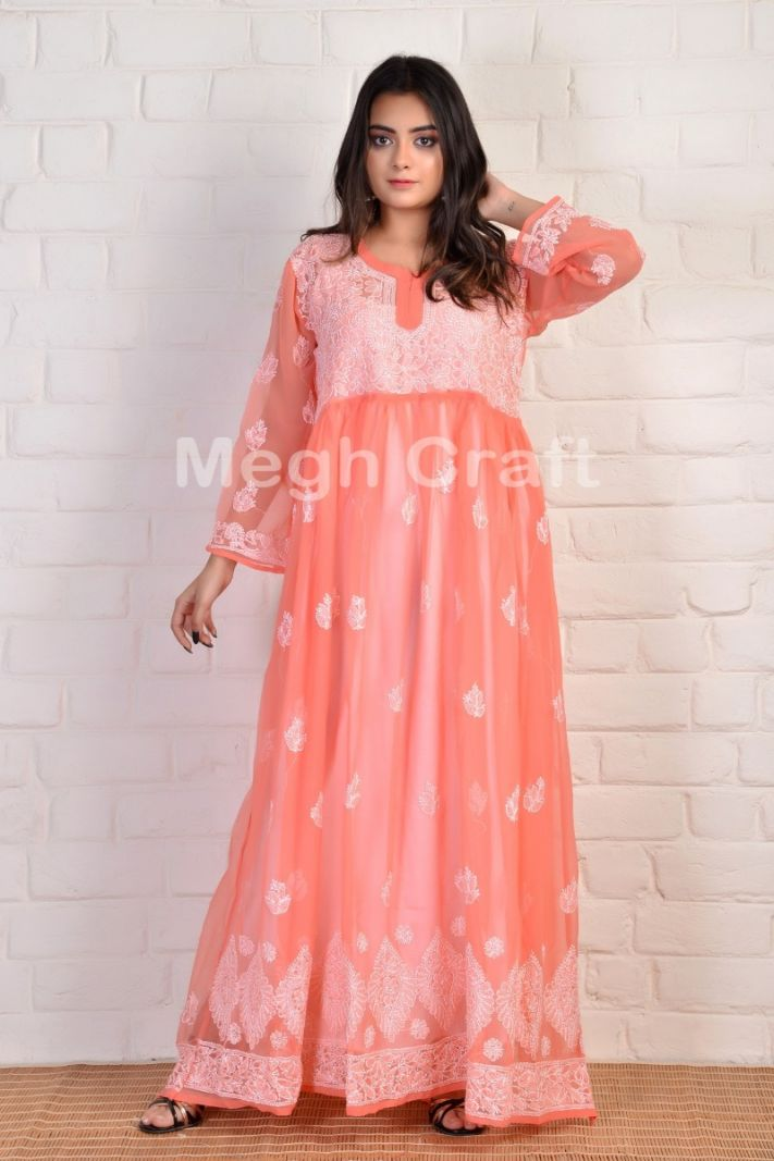 Peach Georgette long kurti
