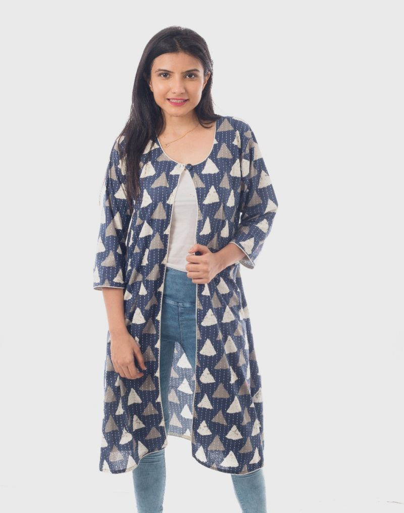 Cotton Kantha Printed Surg Jacket