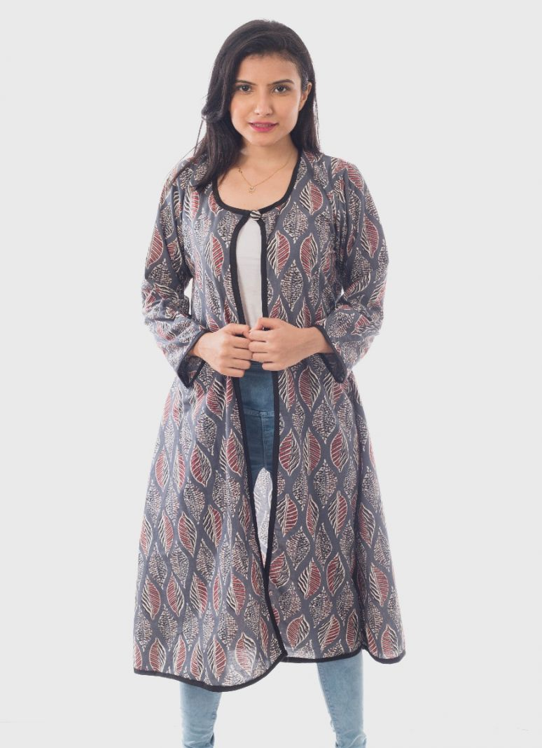 Leaf Print Cotton Long Shrug