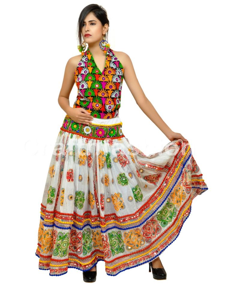 White Exclusive Kutch Embroidered Skirt (ONLY SKIRT)