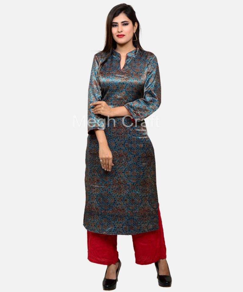 Ladies Ajrakh Mashru Silk Kurta