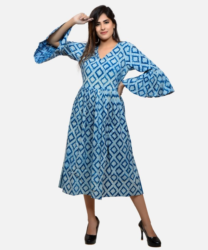 Indigo Block Printed Midi Dress