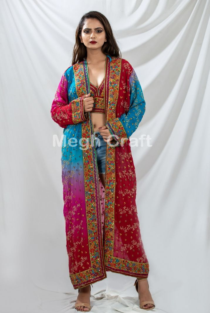 Multi color Embroidered Kimono