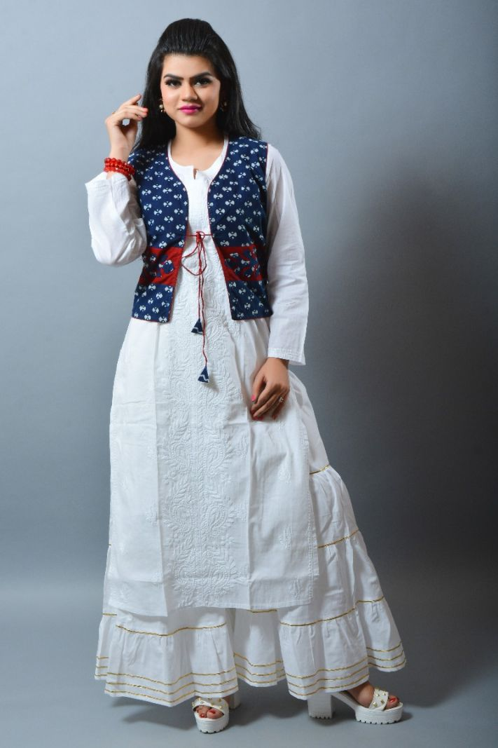 Boho White Long Kurti Gown