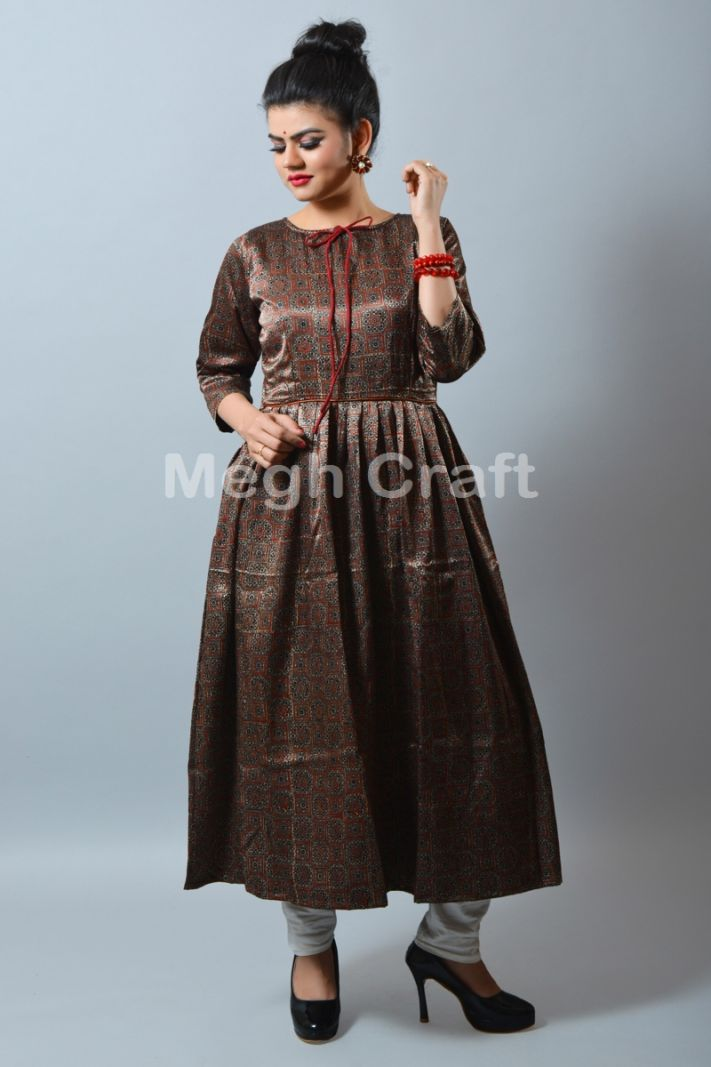 Designer Gaji Silk Kurti Tunic Dress