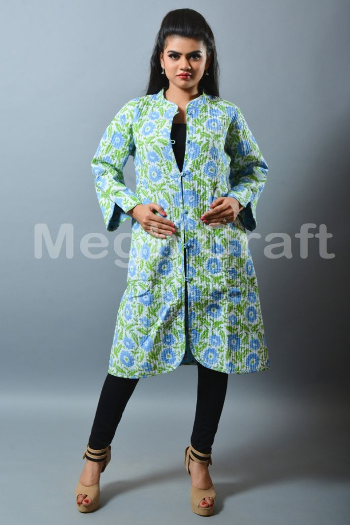 Floral Quilted Reversible Long Jacket