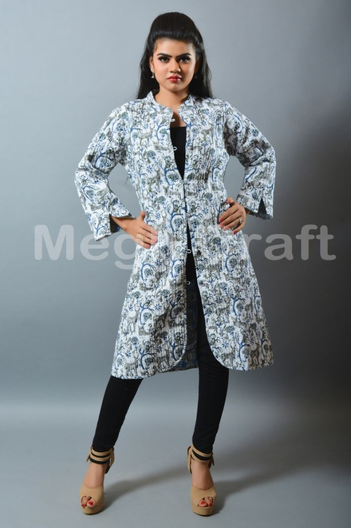 Animal Print Reversible Quilted Coat