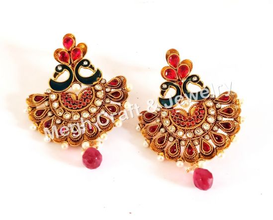 Peacock Style Earring -Hot Pink