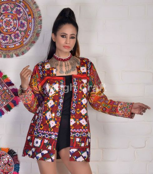 Boho Style Mirror Work Long Coat
