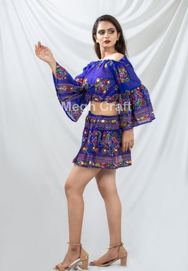 Blue Embroidery Skirt Top Set