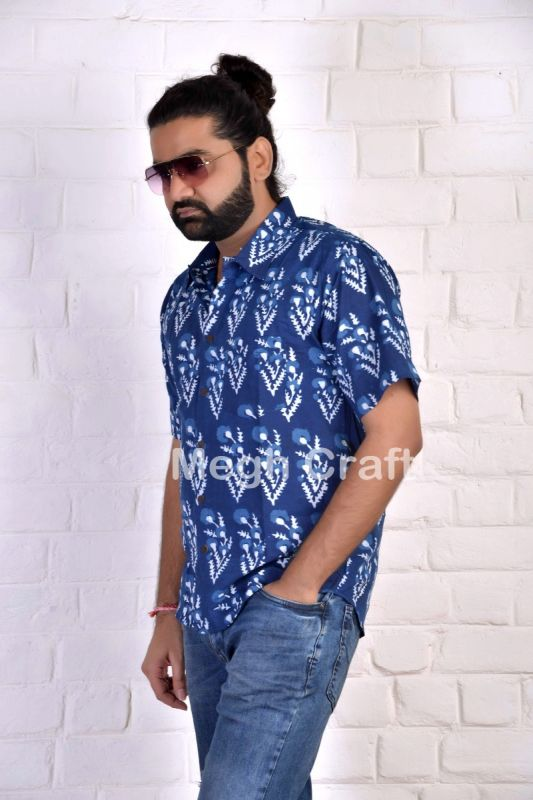 Indigo Block Printed Men's Shirt