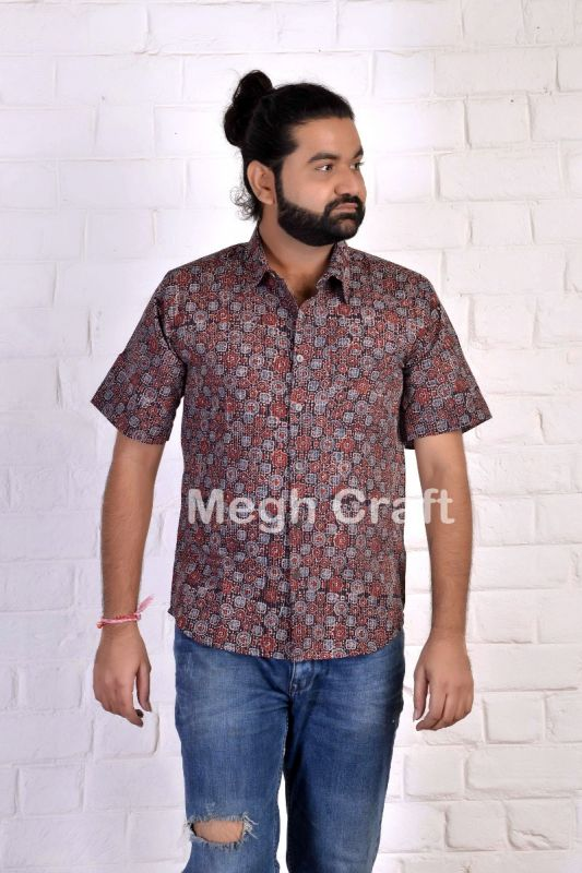 Kantha Stitch Ajrakh Men's Shirt
