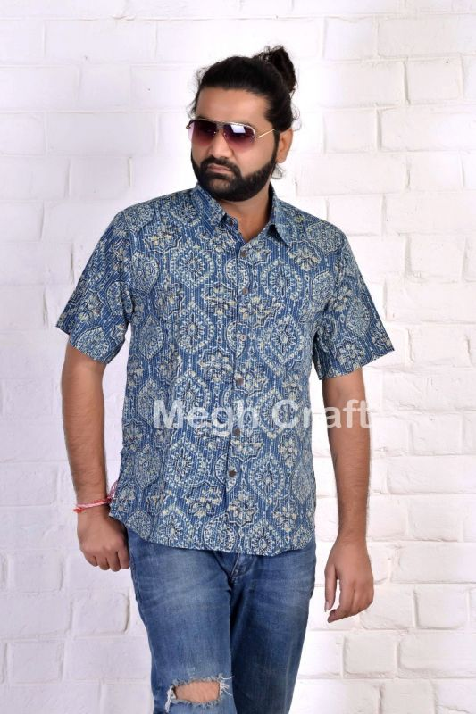 Kantha Ajrakh Cotton Men's Shirt