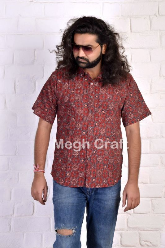 Ajrakh Block Printed Men's Shirt