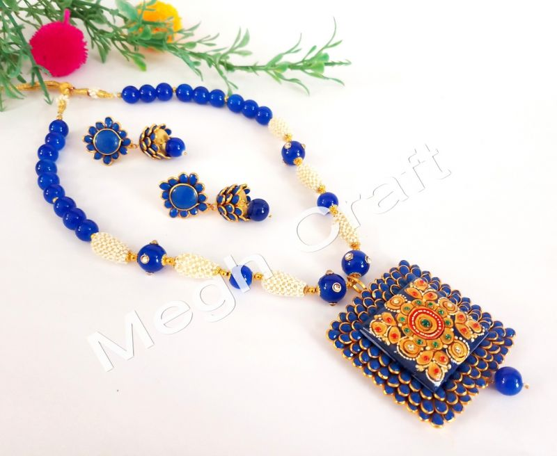 Blue Tanjore Art Pearl Necklace