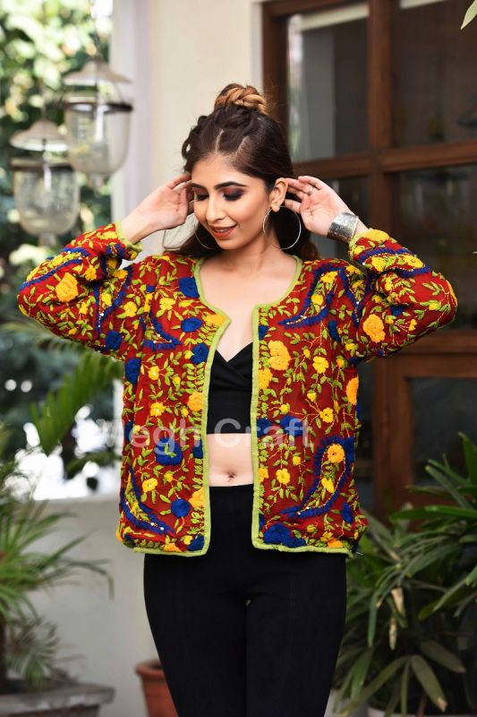 Multicolor Floral Embroidery Jacket