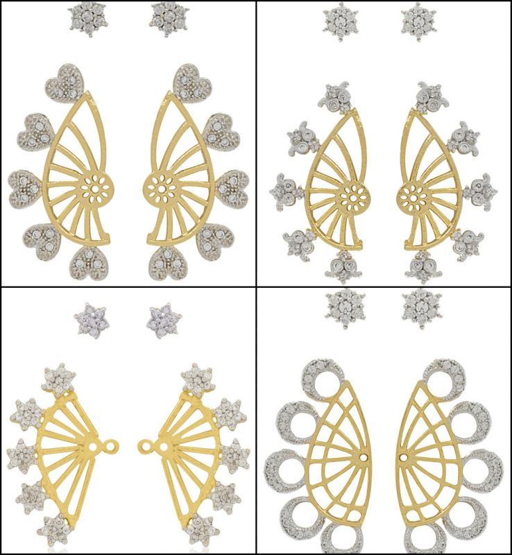 Fashion CZ Cuff Style Earrings (Wholesale Assorted Lot)