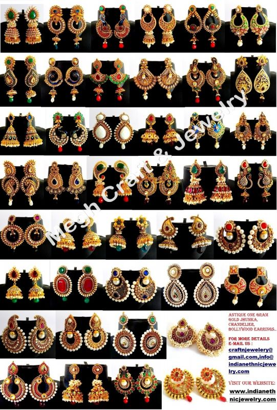 Wholesale Antique Pearl Jhumka Earrings (Assorted Designs & Colors )
