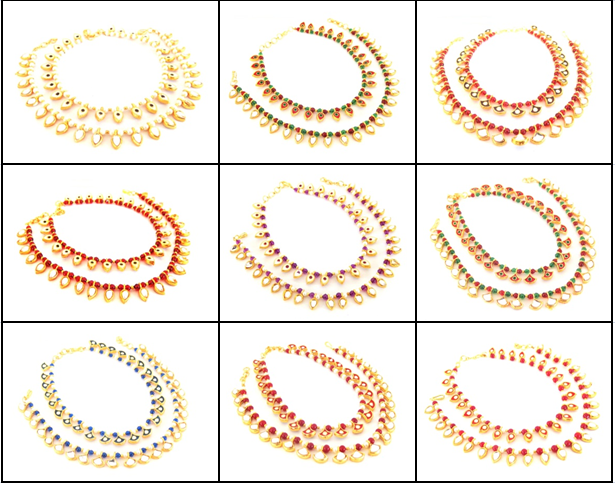 Wholesale Kundan Pearl Fashion Anklets (Assorted Designs & Colors )