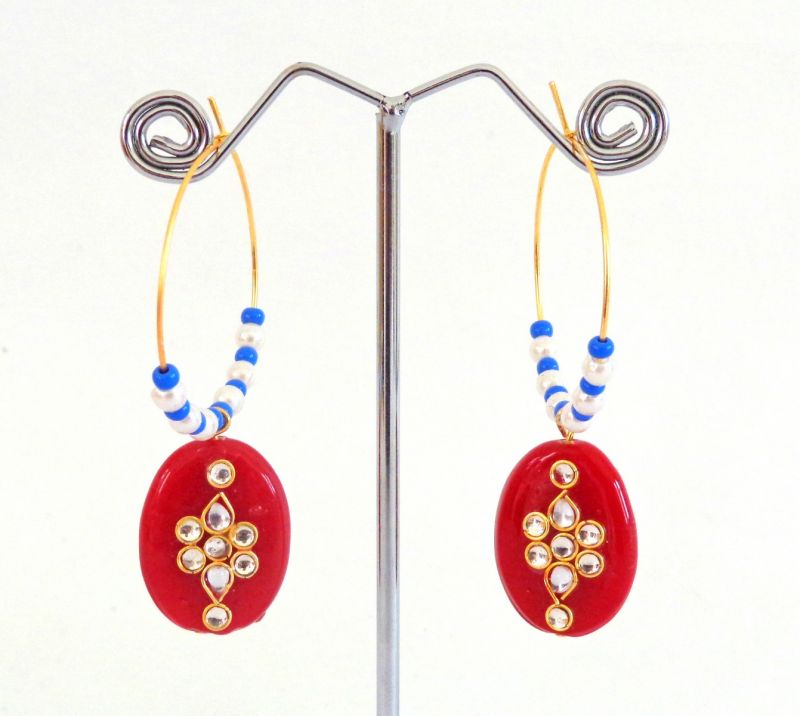 Indian Fashion Earrings-Red