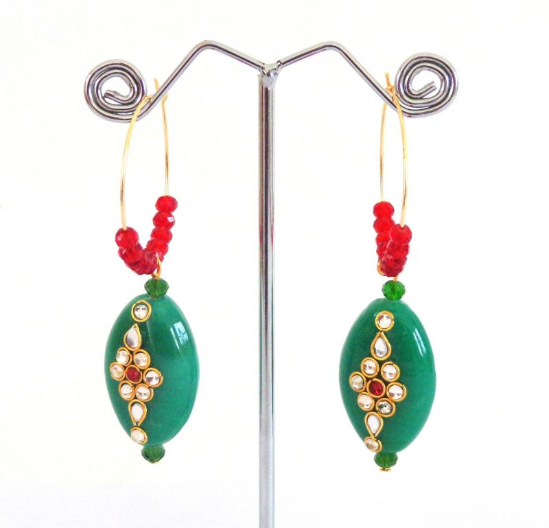 Indian Fashion Earrings-Green