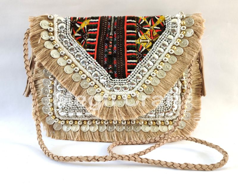 Pearl Beaded Embroidered Jute Clutch