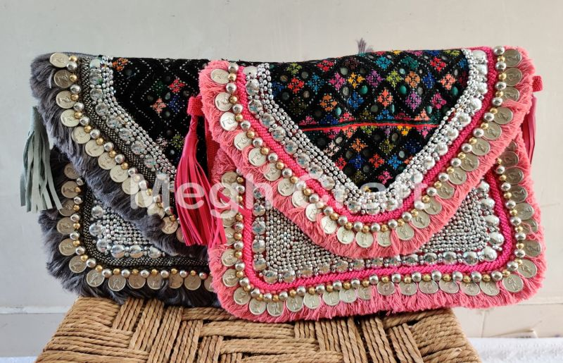 Indian Fashion Embroidered Jute Clutch