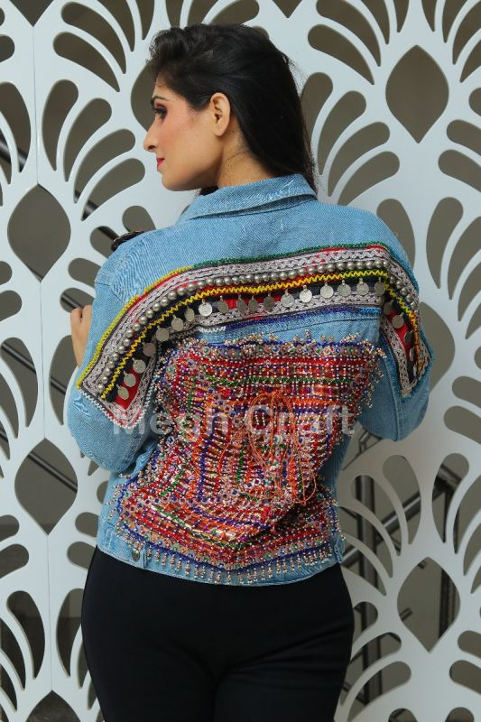 Tribal Beaded Patch Denim  Jacket