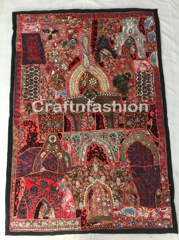 Indian Antique Beaded Vintage Tapestry