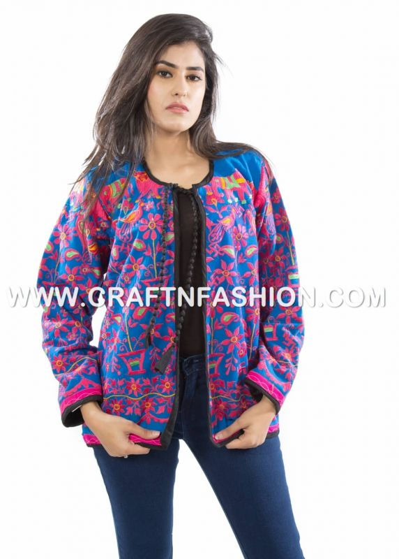 Blue Pink Embroidery Jacket