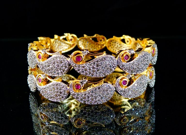 Paisley Design Diamond Bangles
